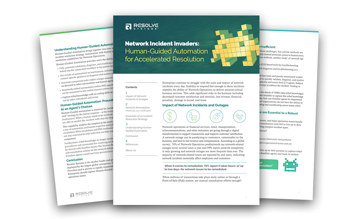 Network Incident Invaders & Human-Guided Automation for Accelerated Resolution
