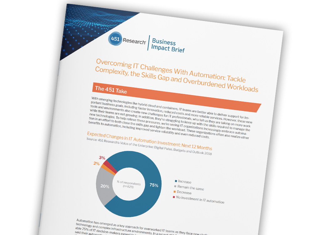 451 Research Report: Overcoming IT Challenges with Automation