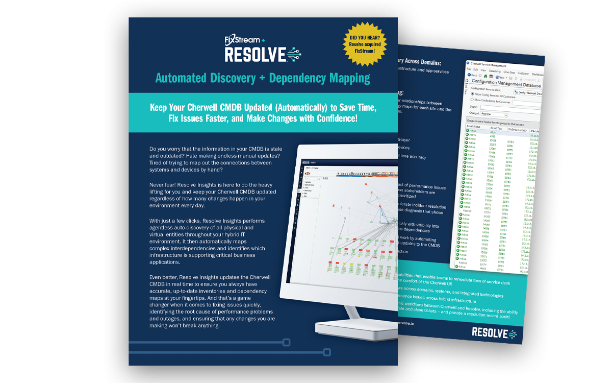 Resolve + Cherwell Solution Brief: Auto-Discovery and Dependency Mapping