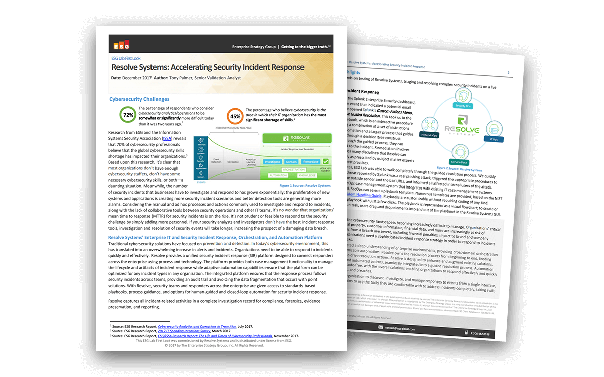 Resolve Systems Accelerates Security Incident Response: ESG Lab