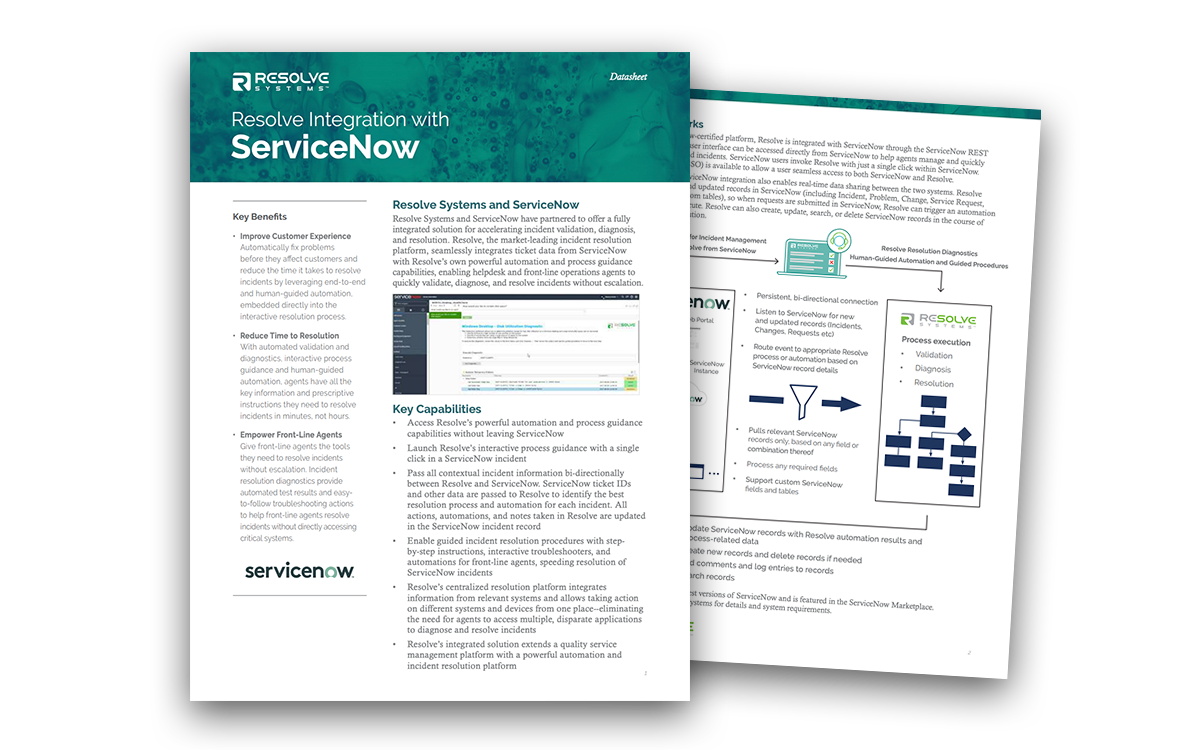 Resolve Integration with ServiceNow