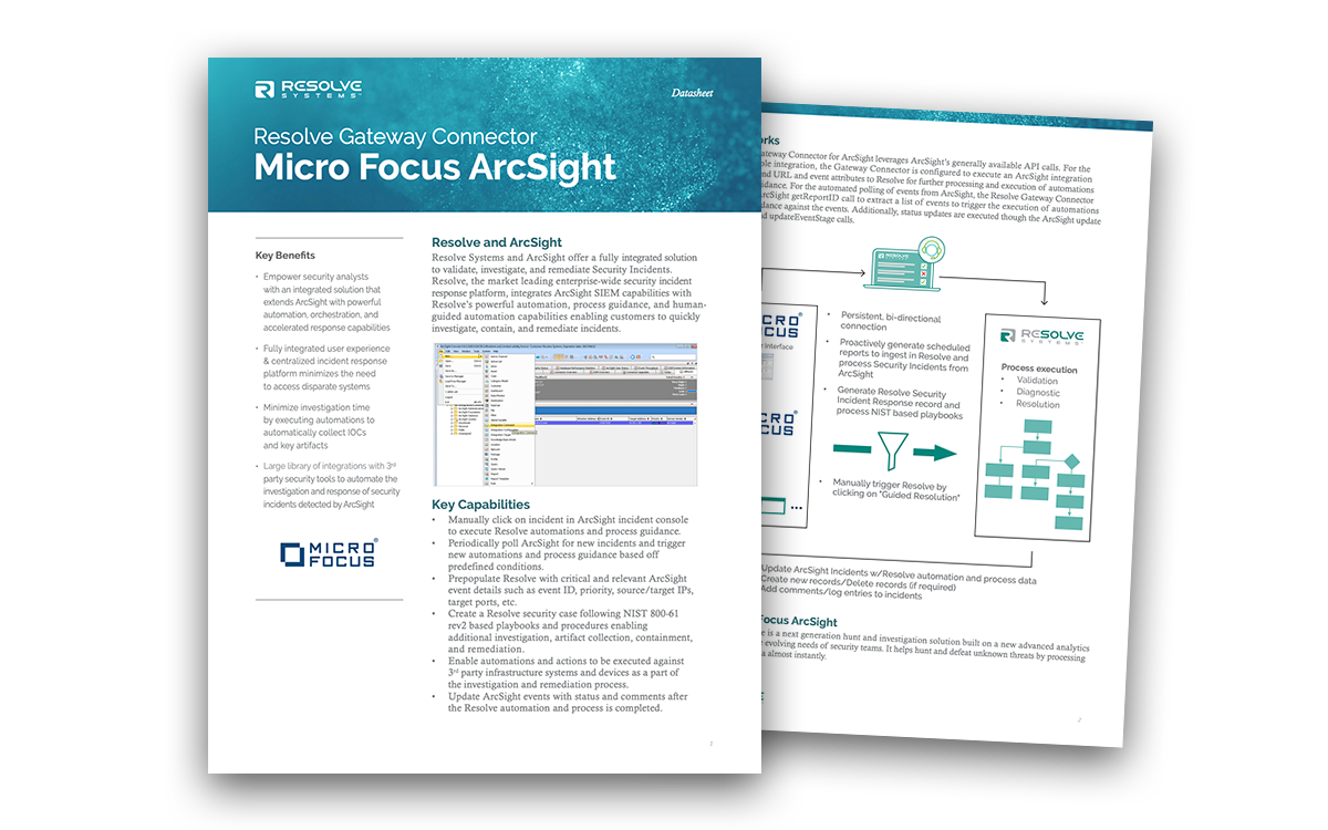 Resolve Integration with Micro Focus ArcSight SIEM
